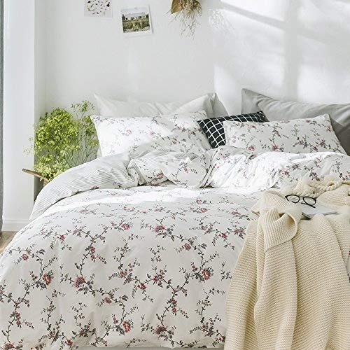 (Cottage Country Style 3 Piece Duvet Cover Set Multicolored Roses Peonies Bouquet 100-percent Cotton Shabby Chic Reversible Floral Bedding (Queen, White))