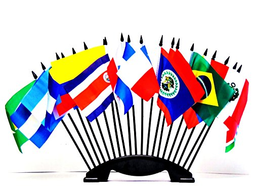 "CENTRAL and SOUTH AMERICA WORLD FLAG SET with BASE--20 Polyester 4""x6"" Flags, One Flag for Each Country in Latin America, 4x6 Miniature Desk & Table Flags, Small Mini Stick Flags"