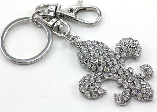 Fleur De Lis Lily Flower Keychain Key Ring Charm Lover Clear Rhinestone Fashion Jewelry