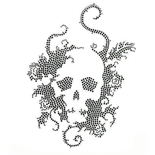(Rhinestone Iron on Transfer Hot Fix Motif Crystal Fashion Design Skull Black 1 Sheets)