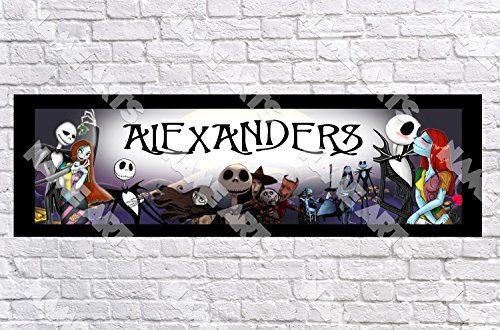 Personalized / Customized Nightmare before Christmas Name Poster with Border Mat- Home Wall Decor Birthday Party Door Banner