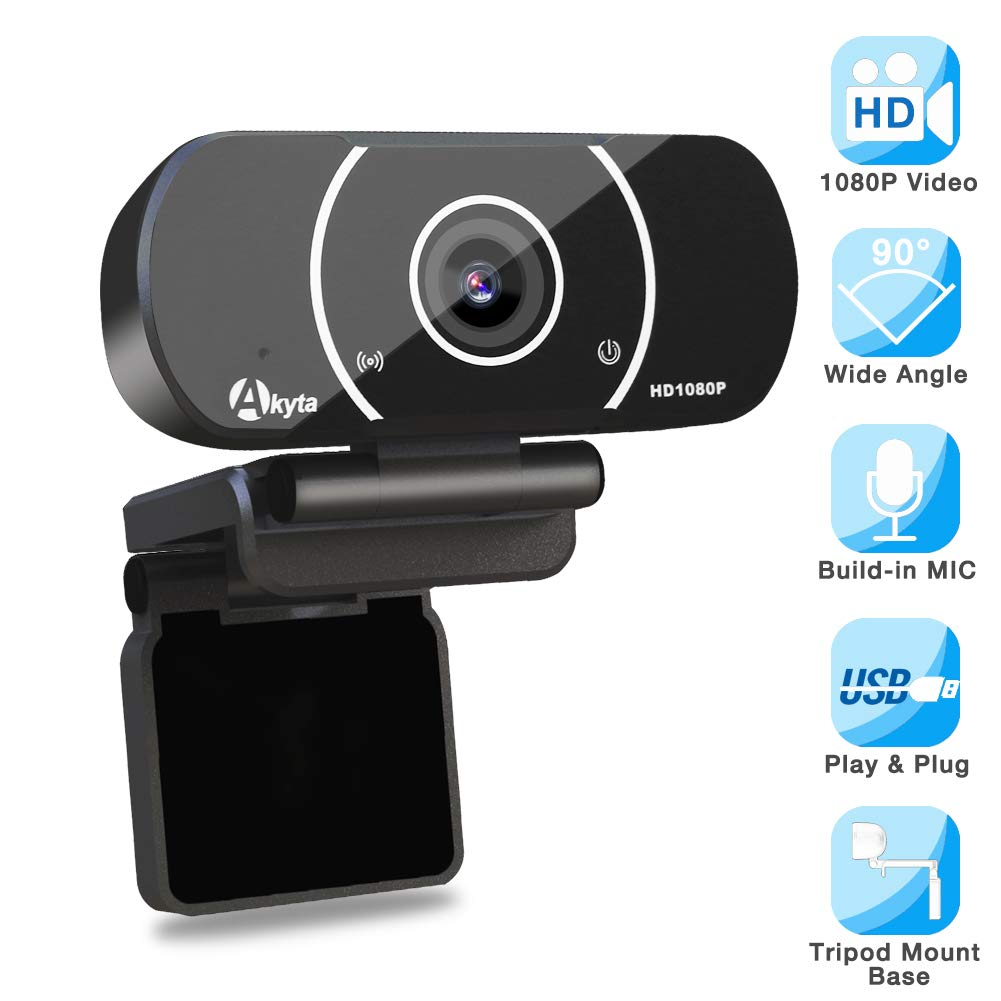 Akyta HD Streaming Webcam 1080P, Video Calling and Recording Web Camera, USB Camera for Computer, Laptop, Desktop, YouTube, OBS, Skype, Facebook, Flexible Rotatable Clip with Tripod Mount Hole by Akyta