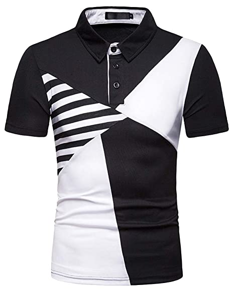 30ba61dc Men's Black Short Sleeve Shirts - Button Down Polo Top Splicing Patterns Slim  Fit Blouse S