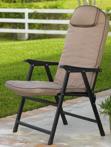 Extra-Wide Folding Padded Outdoor Chair (Khaki) (Wide Folding Chair)