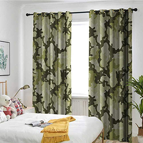 (TRTK Customized Curtains Trolley Bag Curtain Insulation Board Home Decoration Camo,Pattern in Green Shades Background Woodland Wild Nature Design Pale Green Dark Green Pale Green)