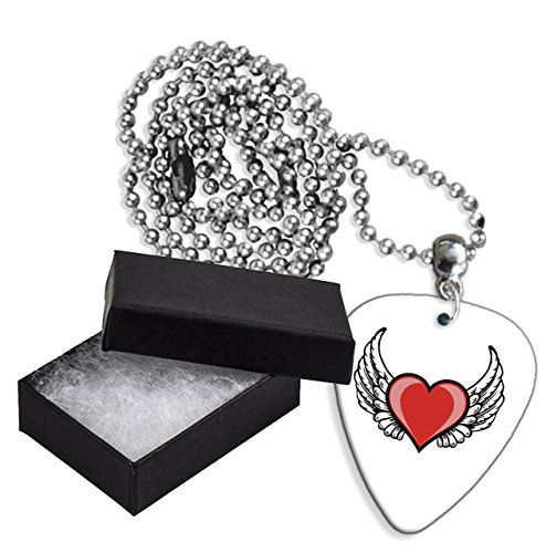 - Angel Wings Love Heart Boxed Metal Guitar Pick Necklace (GD)