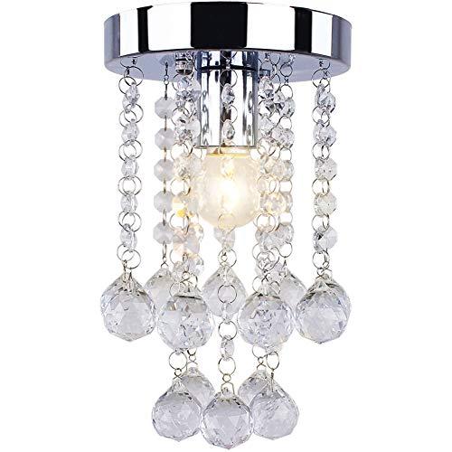 (Dixun Modern Mini Crystal Chandelier Flush Mount Ceiling Light Fixture H 9.06 x W 5.91 Inches Chandelier Light for Hallway Passway Bedroom Living Room Bathroom(Silver) )