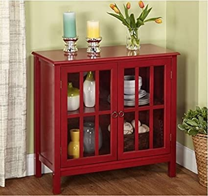 Amazon Cumberland Double Glass Door Cabinet Red Kitchen Dining