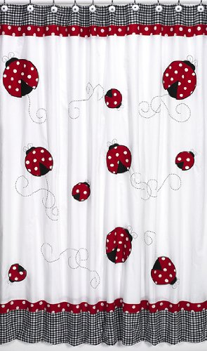 Sweet Jojo Designs Polka Dot Ladybug Kids Bathroom Fabric Bath Shower Curtain ()