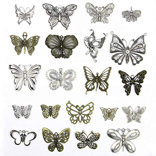Kinteshun Assorted Butterfly Charm Pendant Connector for DIY Jewelry Making Findings(21pcs,Big Size) (Charm Papillon)