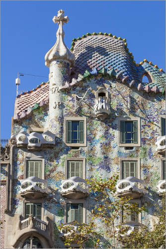 Posterlounge Forex-Print 20 x 30 cm: Casa Batllo, a modernist building by Antoni Gaudi by Neale Clarke/Robert Harding