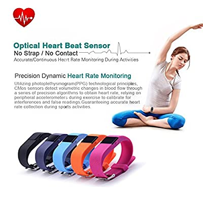 iTontek® JW86 TW64S Fitness Heart Rate Smart band Smart Bracelet Wristband Tracker Bluetooth 4.0 Watch for ios android (TW64 upgraded version)