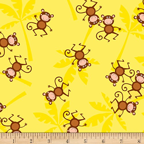 Timeless Treasures Jungle Jam Monkeys Yellow Fabric By The Yard - Jungle Print Fabric