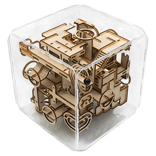 (Intrism Pro - 3D Wooden Puzzle Kit & Challenging Marble Labyrinth Game - Gift for Teens and Adults, 180+ Laser Cut Pieces, Made in USA)