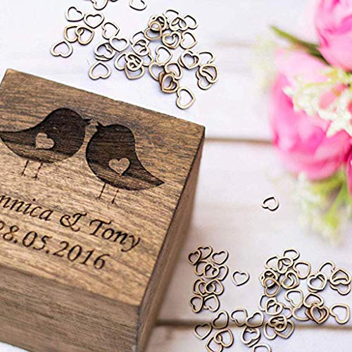 Yu2d  100pcsWedding Table Decorations Hollow Rustic/Vintage Wooden Hearts Love Con(Khaki - Laser Scrapbooking Scrapbooking Pages