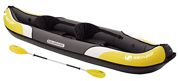 Sevylor Colorado Kit Kayak Hinchable, Kayak de Mar 2 Personas, Piragua Hinchable, Canoa Inflable, incl. 1 Remo Doble, Bomba de Pie, 331 x 88 cm