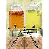 Estilo EST2753 Hammered Glass Double Beverage Drink Dispenser On Stand, 1 gallon, Clear