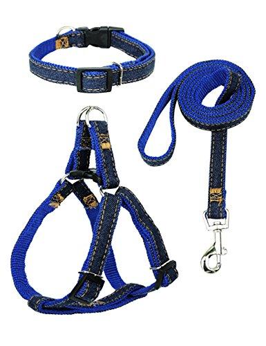 - Star Picker Adjustable Dog Leash Harness Set with Collar Denim Pet Lead Vest Small Medium Large for Walking Training,Blue Denim M(15