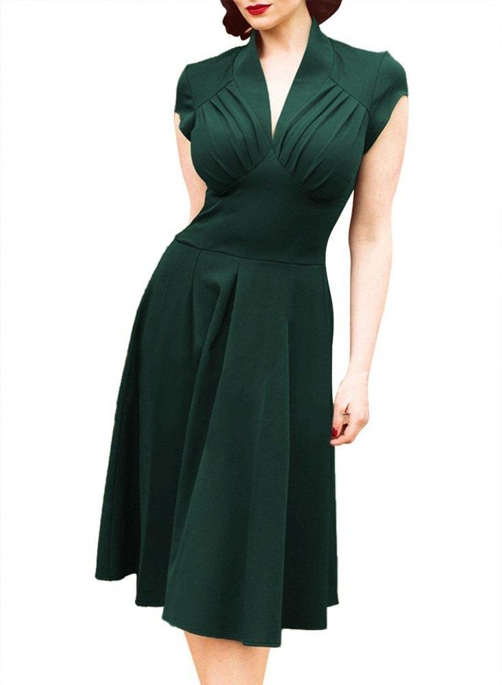 Xizifashion Womens 1950's Vintage Deep V-Neck Cap Sleeve Pleated Bridesmaid Party Dress XL Green