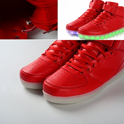 Dogeek Lumière Chaussures Hommes Femmes Led Chaussures Shining Sneakers (choisir Une Taille) Rouge