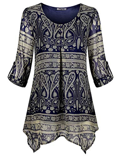 Hibelle Floral Blouses for Women, Fashion 3/4 Roll up Sleeve Button Tunic Chiffon Peasant Flower Flowing Tops A Line Flared Hem Loose Fitting Flowy Lining Layered Shirts Blue X Large (Top Flower Hem)