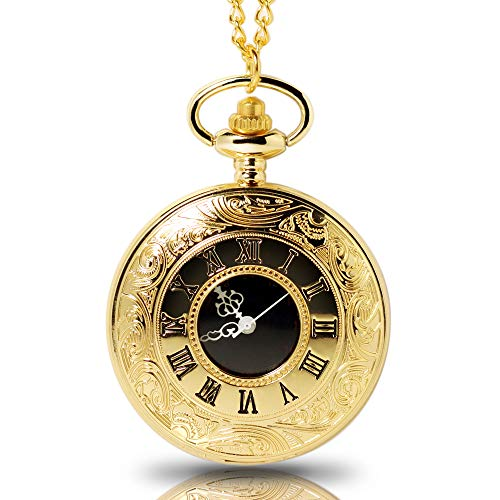 (1x Antique Gold Pocket Watch, Mens Pocket Watch with Chain (Golden))