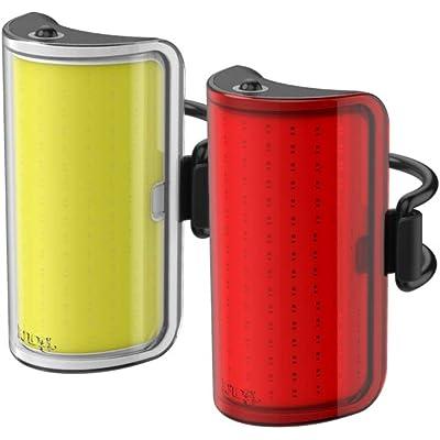 Knog Mid Cobber Twinpack 10.75656, Luces de bicicleta,  Iluminación frontal y trasera, LED 320 & 170 lm, Amarillo/Negro y Rojo/Negro