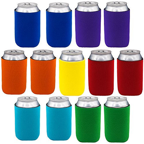 Neoprene Can Sleeves - Pack of 13 Plain Can Cooler Covers Fit 12 oz Cans and 12 to 16 oz Glass & Aluminum Bottles. Premium Neoprene & Stitching by Impirilux (13, Multi Color) - Neoprene Can Cooler