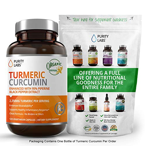 Organic Turmeric Curcumin 2250MG Highest Quality and Potency Available Joint Pain and Arthritis Relief Supplement with 95% Standardized Curcuminoids and Black Pepper Bioperine for Best Absorption