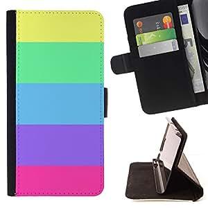 Momo Phone Case / Flip Funda de Cuero Case Cover - Verano Líneas en colores pastel púrpura colorida - Motorola Moto E ( 1st Generation )