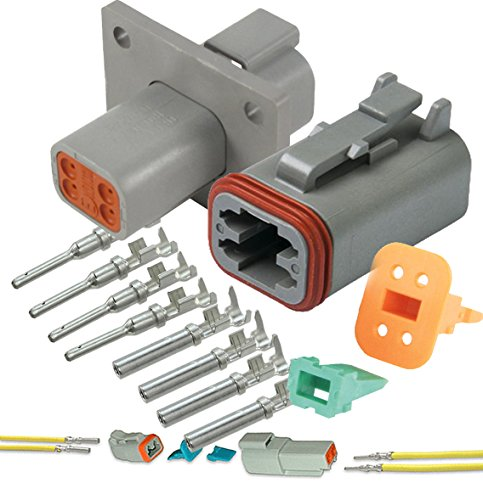(Deutsch 4-Pin (Flange) Connector kit, 14-16 AWG, Pins & Seals Crimp Terminals)