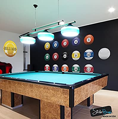 16 Realistic Color Billiard Balls Wall Decal Sticker Game Room Sign Decor #6089 Easy to Apply & Removable.