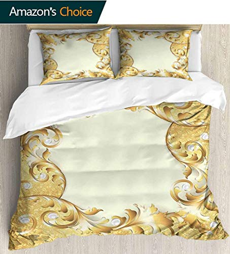 shirlyhome Pearls 3 PCS King Size Comforter Set,Illustration of a Frame with Ornaments and Pearls Baroque Style Floral Patterns with 1 Pillowcase for Kids Bedding 87