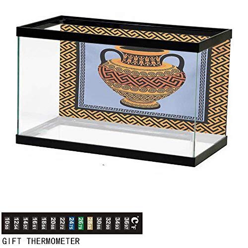 wwwhsl Aquarium Background,Greek Key,Frame with Traditional Vintage Square Ornament Meander and Amphora,Orange Lavender Black Fish Tank Backdrop 60