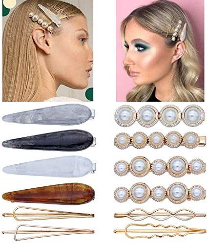 12 PCS Acrylic Resin Hair Clips Pearl Alligator Hair Clips Lady Geometric Gold Bobby Pins Hairpins Hair Barrettes Artificial Pearl Hair Accessories For Women