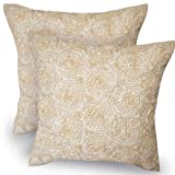 One Pair: Lovely Throw Cushion Cover/pillow Sham Handmade (Size 16 X 16 Inches) Silk and Thai Satin for Decorative Sofa, Car and Living Room