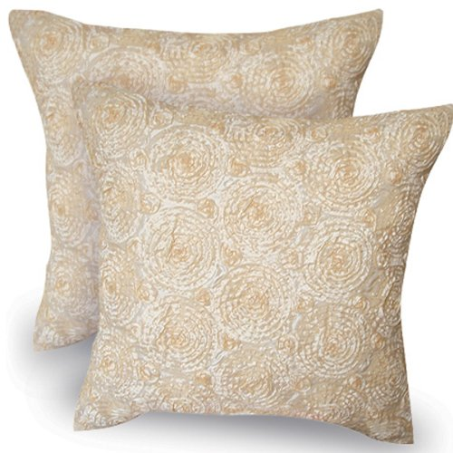 One Pair: Lovely Throw Cushion Cover/pillow Sham Handmade (Size 16 X 16 Inches) Silk and Thai Satin for Decorative Sofa, Car and Living Room by Night Bazaar