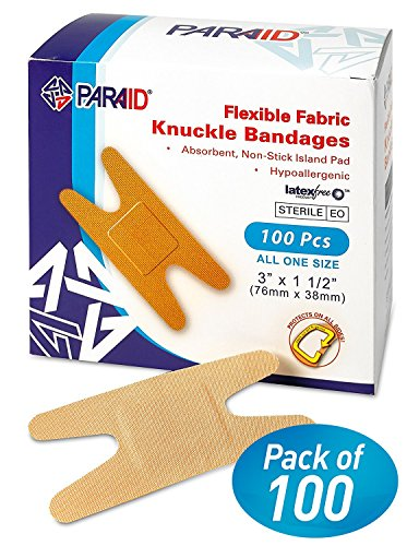 Flexible Fabric Bandages - Flex Fabric Adhesive Bandages Knuckle Bandages for Finger Care and to Protect Wounds from Infection - (100 Count Box) (Sterile Bandages Adhesive Flexible Fabric)
