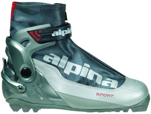 - Alpina S Combi Sport Series Cross-Country Nordic Ski Boots, Silver/Charcoal, 39