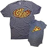 Funny Pizza Pie & Slice Infant Baby Bodysuit & T-Shirt Set Dad (Graphite) (6M & XL)