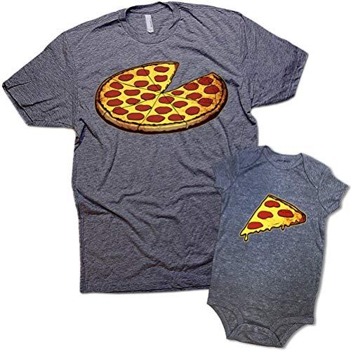 Funny Pizza Pie & Slice Infant Baby Bodysuit & T-Shirt Set Dad (Graphite) (12M & 2XL) - Baby Onesie Like