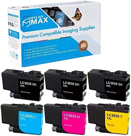 SuppliesMAX Compatible Replacement for Brother DCP-J1100//MFC-J805//J815//J995//J1300DW Ultra High Yield Inkjet Combo Pack LC-3235-3BK1CMY 3-BK//1-C//M//Y