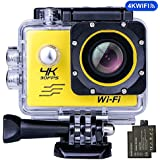 Ejotc 4K WIFI Sports Action Camera, Waterproof 170° Ultra Wide-Angle 2.0 Display 16 MP Camcorder with 2 Pcs Rechargeable Batteries 1050 mah, 25 Accessories Kits