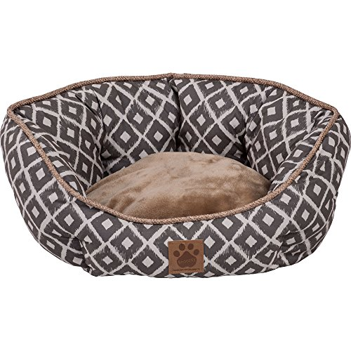 y IKAT Clamshell Bed Gray (Snoozzy Pet Bed Plush)