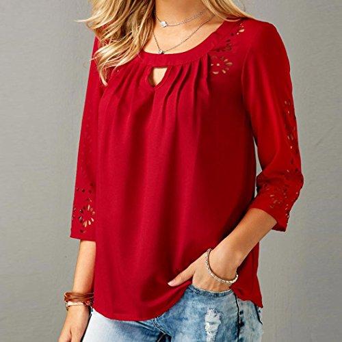 Mousseline de Trimestre Manches Rouge Femme Blouse Chemisier T Shirt Chic Soie Bring en Tops Solide q8pgt0In