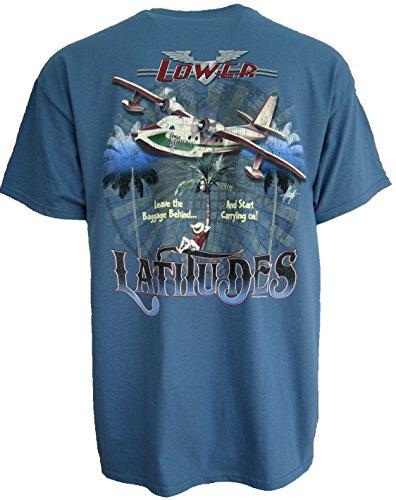 Good Life Mens 100% Cotton T-Shirt Short Sleeve Hawaiian Beach Scenery (Medium, Indigo Blue Leave Baggage)