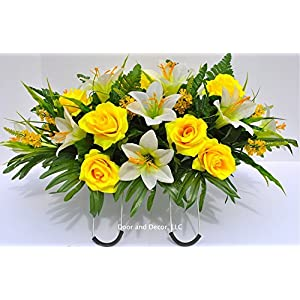 Spring or Easter Cemetery Flowers with Yellow Roses and Easter Lilies for Grave Decorations 6