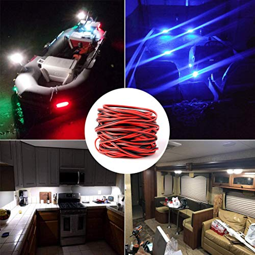 Shangyuan Boat Light Extension Cable Wire Cord for 3528 5050 5630 Led Strip Light Single Color, 66ft 22awg 2pin Wires for Pontoon Boat Kayak Stern Anchor Mast Courtesy Navigation Bow Marine Lights