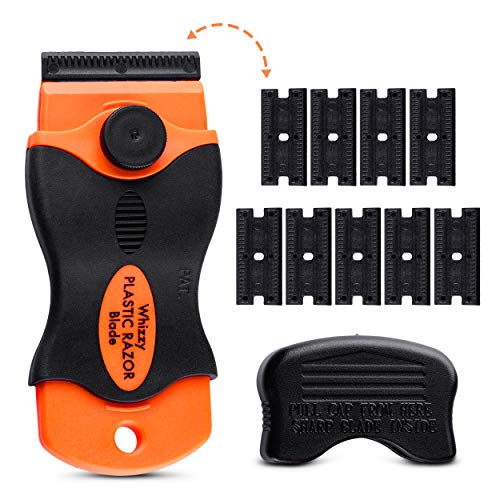 Whizzy Wheel Plastic Razor Blades Scraper with Contoured Grip. 20 Blade Edges and Ideal for Car Vinyl, Decal & Tint Removal