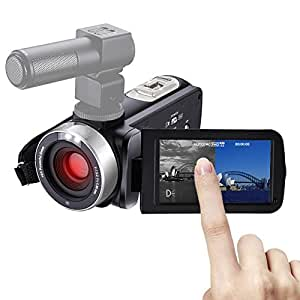 """COMI Camcorder With MIC Night Vision Camera Full HD 24.0MP 1080p Webcam 3"""" Touchscreen Digital Video Recorder External Microphone"""